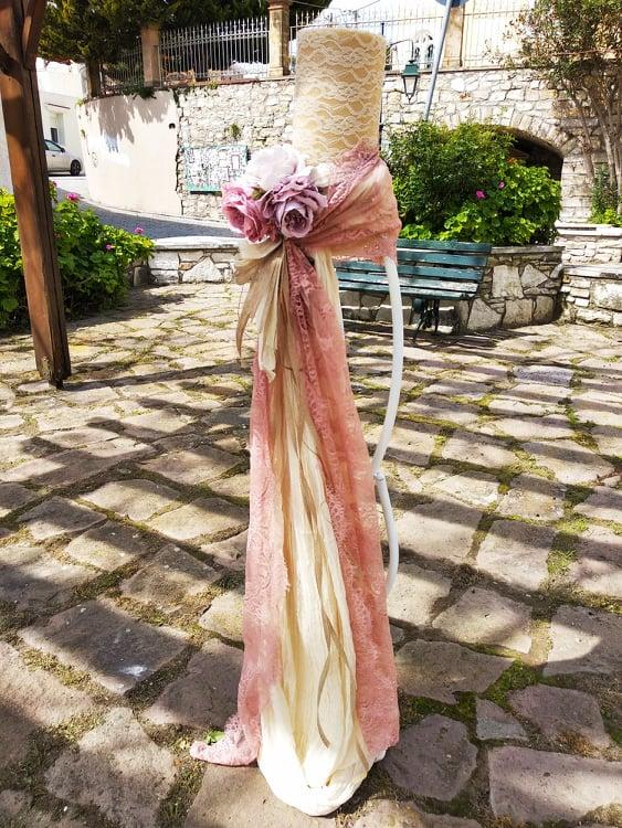 17be65eb8df0 Λαμπάδα γάμου μεταλλικός κηροστάτης με λουλούδια
